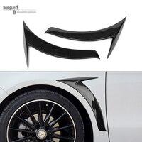 Mercedes Carbon Fiber Fender Trim For Mercedes CLA W117 2014 Glossy Black 1 Pair Benz Car