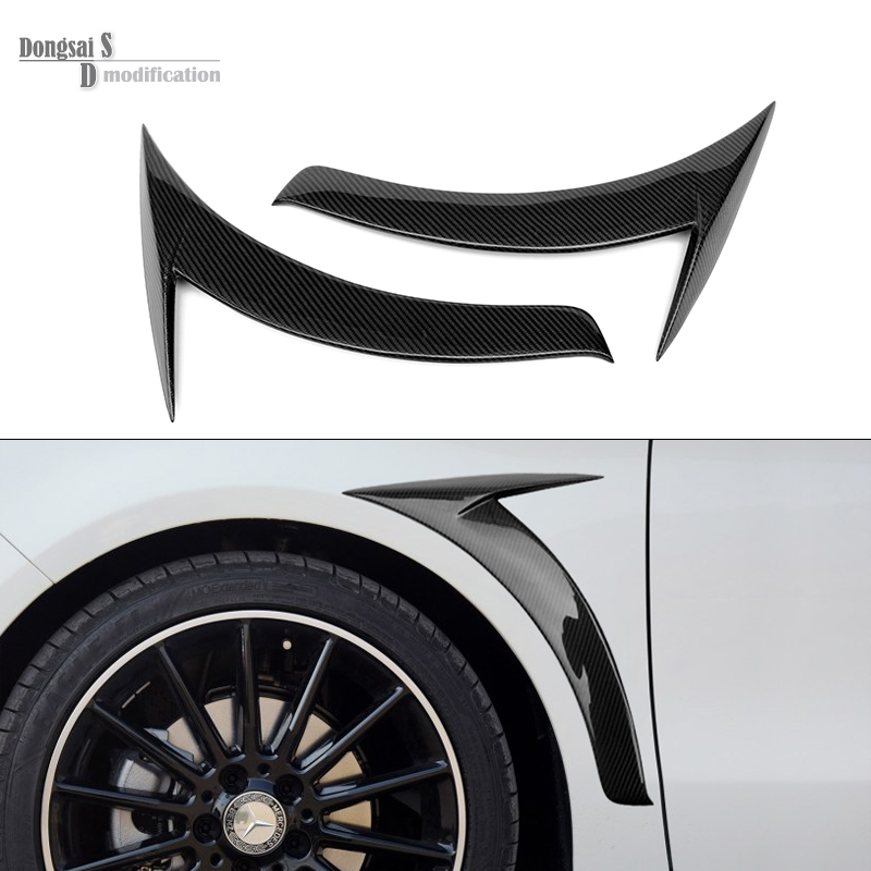 Mercedes Carbon Fiber Fender Trim For Mercedes CLA W117 2014 + Glossy Black 1 Pair Benz Car Side Air Vent CLA 180 200 250 45 AMG