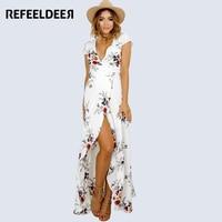Refeeldeer Summer Dress Women 2017 Boho Plus Size Tunic Party Bandage Maxi Beach Shirt Dress Summer