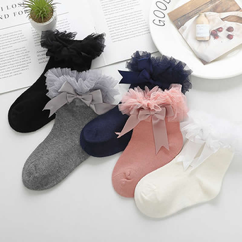 Baby Socks Ribbon Lace Bowknot Lace Socks Baby Kids Lovely Bitter Ballet Stage Priness Socks Party Wear Toddler Infant