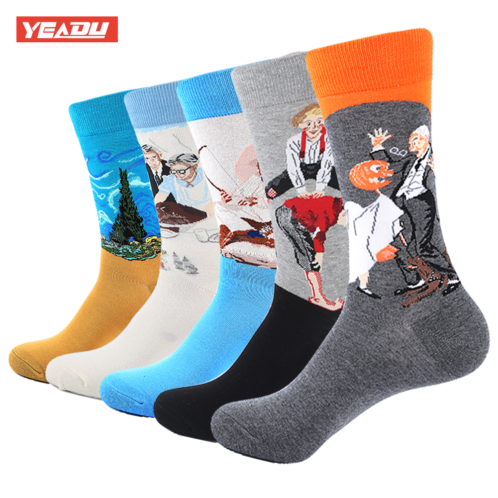 YEADU 5 Pair/Lot Mens Colorful Funny Socks Famous Retro Painting Pattern Casual Socks