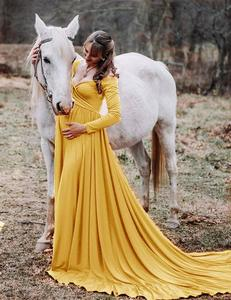 Image 4 - Cotton Pregnant Dresses For Women Maxi Maternity Gown Clothes For Photo Shoots 2019 Maternity Pregnancy Dress Photography Props