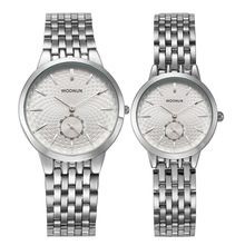2016 nuevo reloj de cuarzo marca los amantes relojes mujeres hombres visten los relojes de pulsera de cuero del vestido moda Casual reloj marca WOONUN