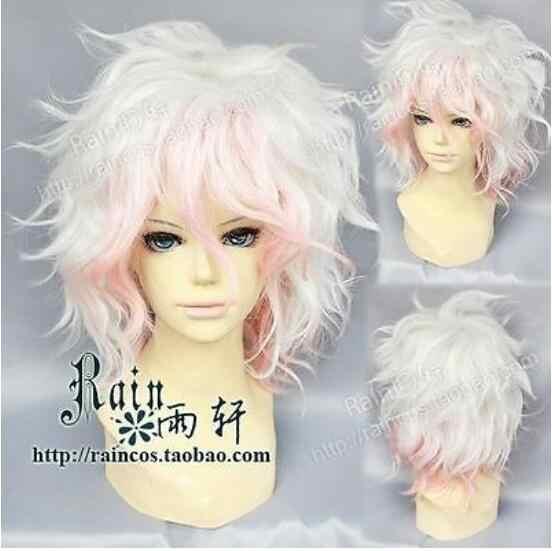 Peluca Danganronpa dangan-ronpa Nagito Komaeda moda corta rosa blanco Cosplay pelucas envío gratis