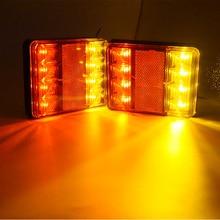 Водонепроницаемый 8 светодиодов 12 В Авто фонарь Предупреждение сзади лампы пара Tailights для прицеп грузовика караван Camper Vans лодка Запчасти