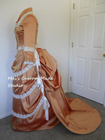 18th Century Victorian Bustled Style Dress In Peach Silk And Ivory Trims Ball Gown
