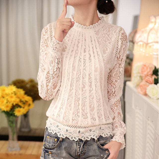 Laces Camisa Plus Size Blusas Y Camisas Mujer Women Blouses 2016 Vetement Femme Hollow Vintage Lace Blouse Camisas Women Tops