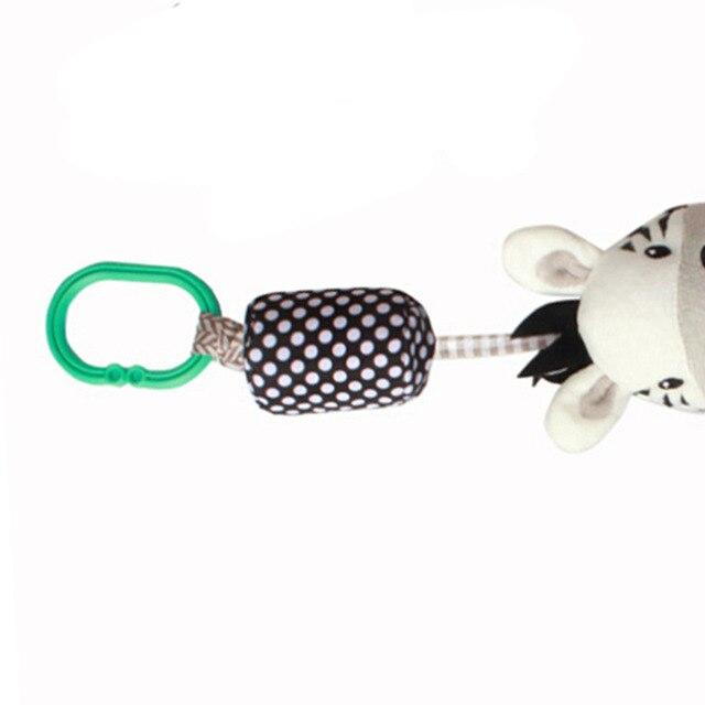 Dibujos animados de cebra infantil de tela de juguete para bebé con ruedas sonajeros campanillas de viento bebé cuna cama muñeco colgante Pacify juguetes de bebé
