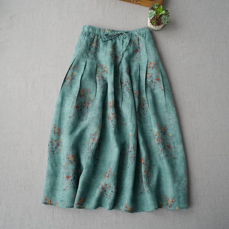 Kadın Giyim'ten Etekler'de Ilkbahar Yaz Kadın Rahat Gevşek Artı Boyutu Mori Kız Rustik Baskı Rahat Elastik Bel Tüm Maç Kısa Temel Rami Etek'da  Grup 1