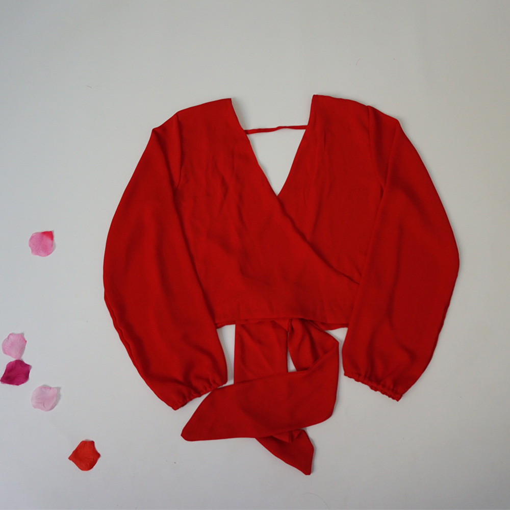 Summer women sexy chiffon blouses backless long sleeve female tops v neck casual cross ladies shirt 2019 fashion streetwear new