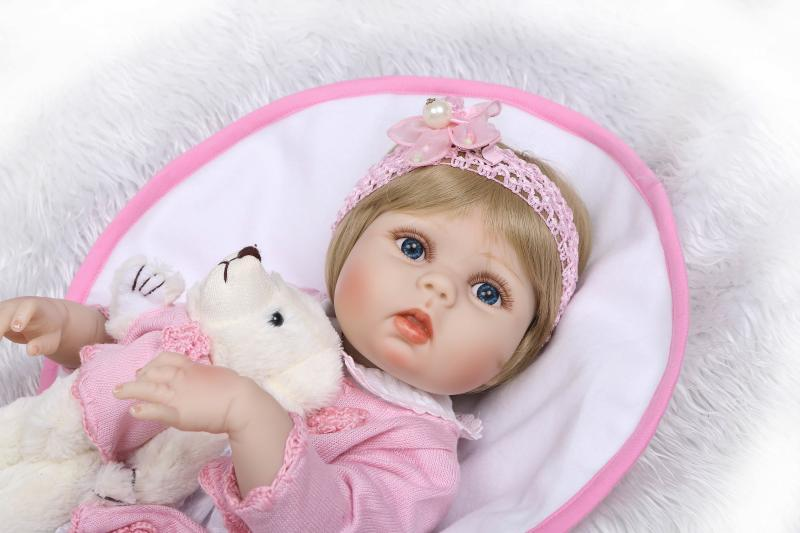 22 Inch Full Body Vinyl Body Bathed Reborn Baby Girl Doll Lovely Silicone Reborn Baby Dolls for Girls Birthday Christmas Gifts 22 inch lovely reborn baby dolls full vinyl body silicone newborn baby reborn 55 cm girl realistic princess kids birthday gifts