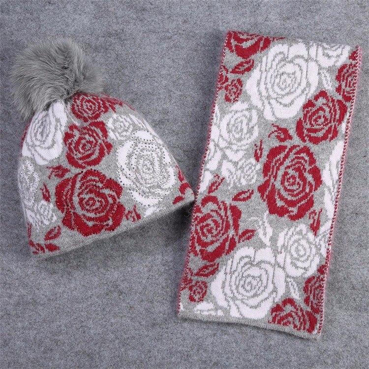 Ensemble écharpe/bonnet en laine et vison