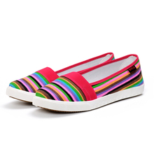 Spring Women Loafers Soft Rainbow Stripe Slip On Flats For 2017 Summer Style Canvas Shoes Woman  shoes women  Plus Size 35-40099