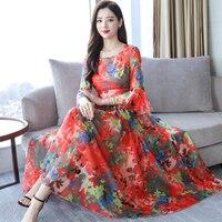 2019 Summer new women's retro chiffon floral long dress flare sleeve big swing bohemian holiday beach dress female plus size