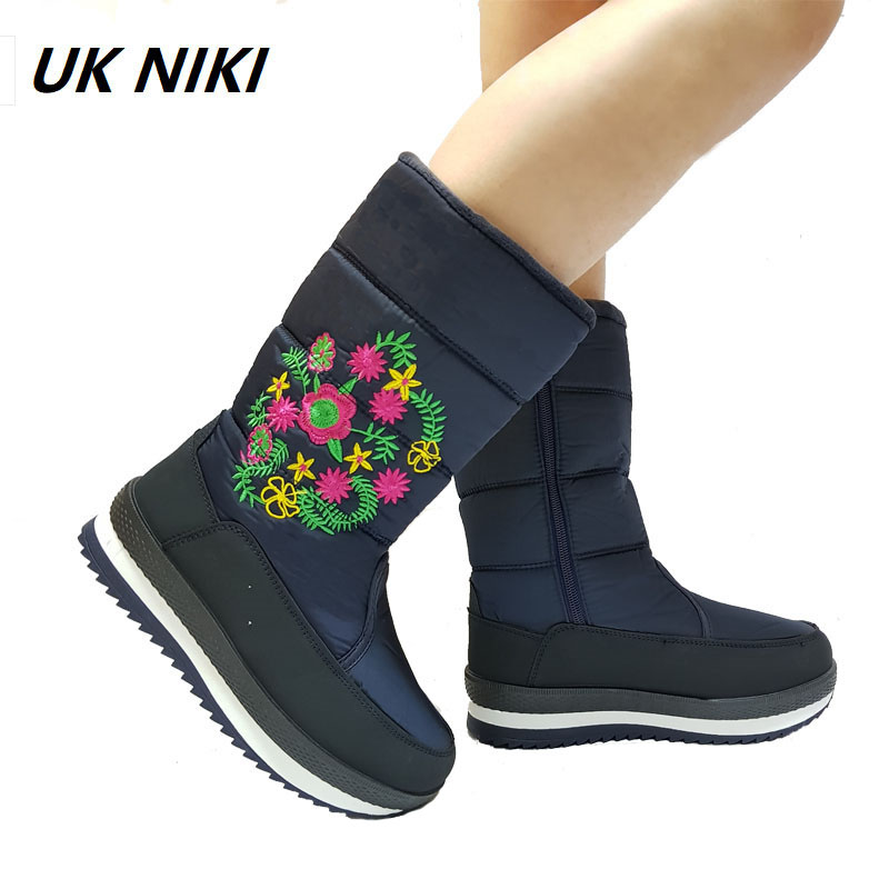 UKNIKI Female Basic Solid Shoes for Womens with Zip Short Plush Winter Embroider Snow Boots Women mid-calf Boots B7055 lukuco pure color women mid calf boots microfiber made buckle design low hoof heel zip shoes with short plush inside