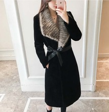 new arrival 2018 Winter fashion woman clothes woolen long coat natural real mink fur collar female streetwear black big size xxl
