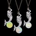 2016 Diseño Único Hermoso Océano Sirena y la Forma de la Luna Colgante de La Antigüedad de La Astilla Plateó el Collar de Cadena Para 80 90's Niñas