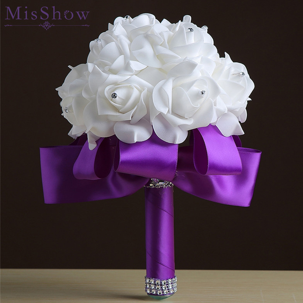 Handmade Ribbon Flower Wedding Bouquets With Crystal Bridal Bouquet