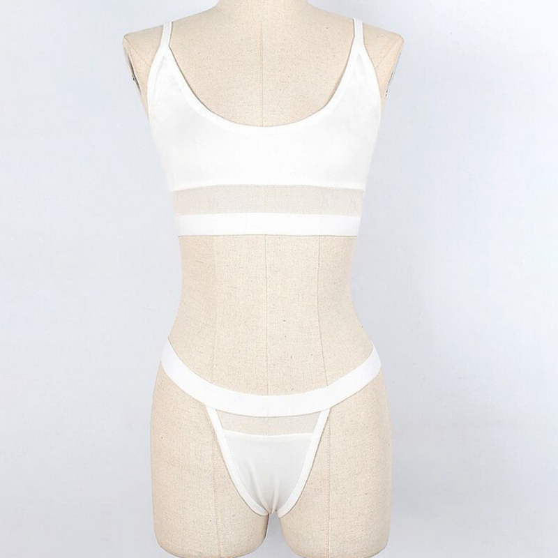 Sexy Underwear Erotic Lingerie Set Split Sexy Three Point Underwear Set Solid Color Mesh Perspective Sling High Waist Briefs in Lingerie Sets from Novelty Special Use