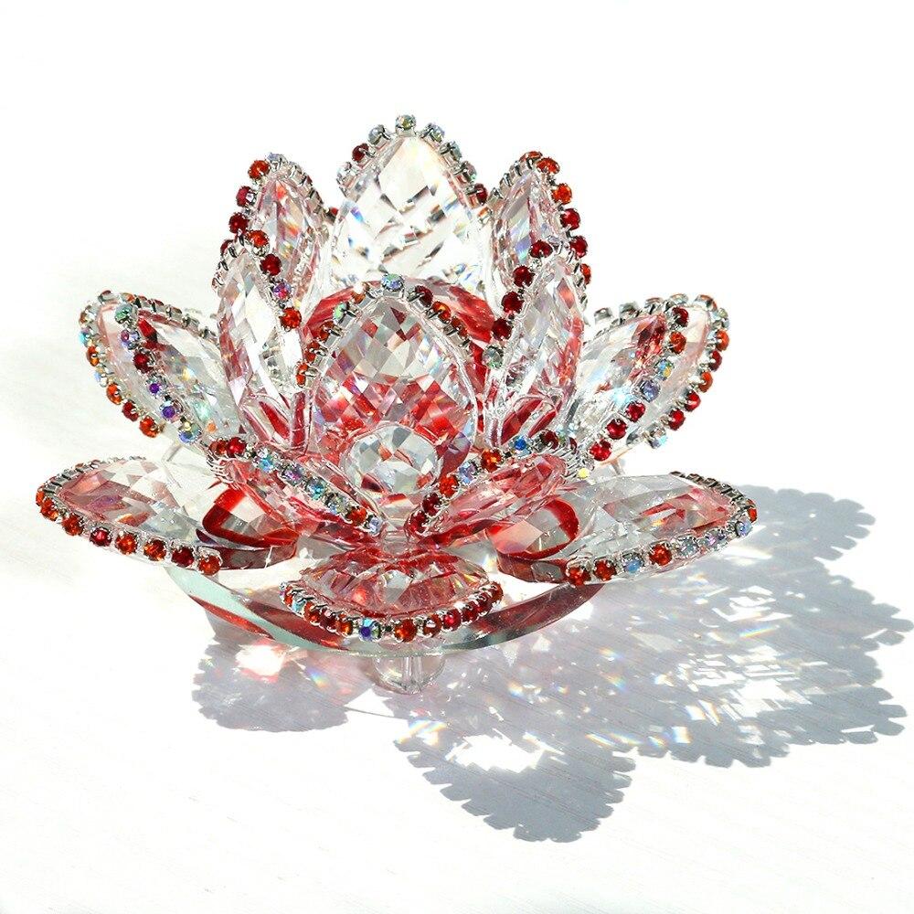 Hd 90mm Quartz Crystal Lotus Flower Ornaments Fengshui Crystals