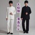 Charmeuse Cheongsam del cáñamo de bambú ropa ropa nacional juego de la espiga del estilo chino de los hombres classic negro y blanco de manga larga conjunto