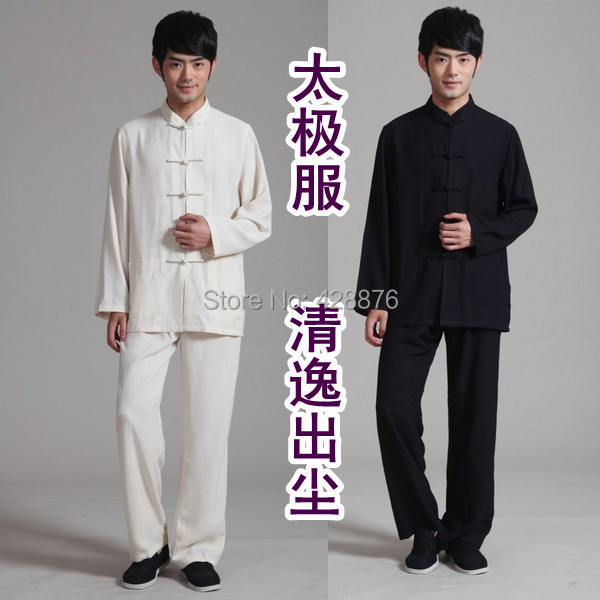 Cheongsam bamboo hemp charmeuse chinese style men's clothing national clothes tang suit classic black and white long-sleeve set