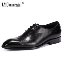 genuine leather mens business shoes British bullock carved Oxford dress big size formal men all-match cowhide