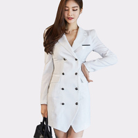 2017 Summer Blazer Notched Collar Women Striped Elegant Dresses Double Breasted Office Ladies Fashion Sexy Vestidos Mujer
