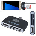 Micro USB 3 в 1 Устройство Чтения Карт Памяти Адаптера USB/TF/SD для Samsung Galaxy S7Edge