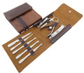 9pc High Quality Stainless Steel Nail Care Manicure Set Tool with Leather Case