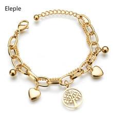 Eleple Popular Titanium Steel Bohemia Lady Bracelet Gold Color Heart Life Tree Pendant Bracelets Gifts Jewelry Wholesale S-B46
