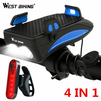 WEST BIKING Bicycle Light Phone Holder Motorcycle Support GPS Mount With Light 2000/4000mAh Bike Light Smartphone Mount Stand