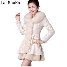 LA MAXPA 2017 Winter Imitate Fox Fur Grass Loose Female Coat Down Jackets Woman Special Parka Wool Blend Leather Women New