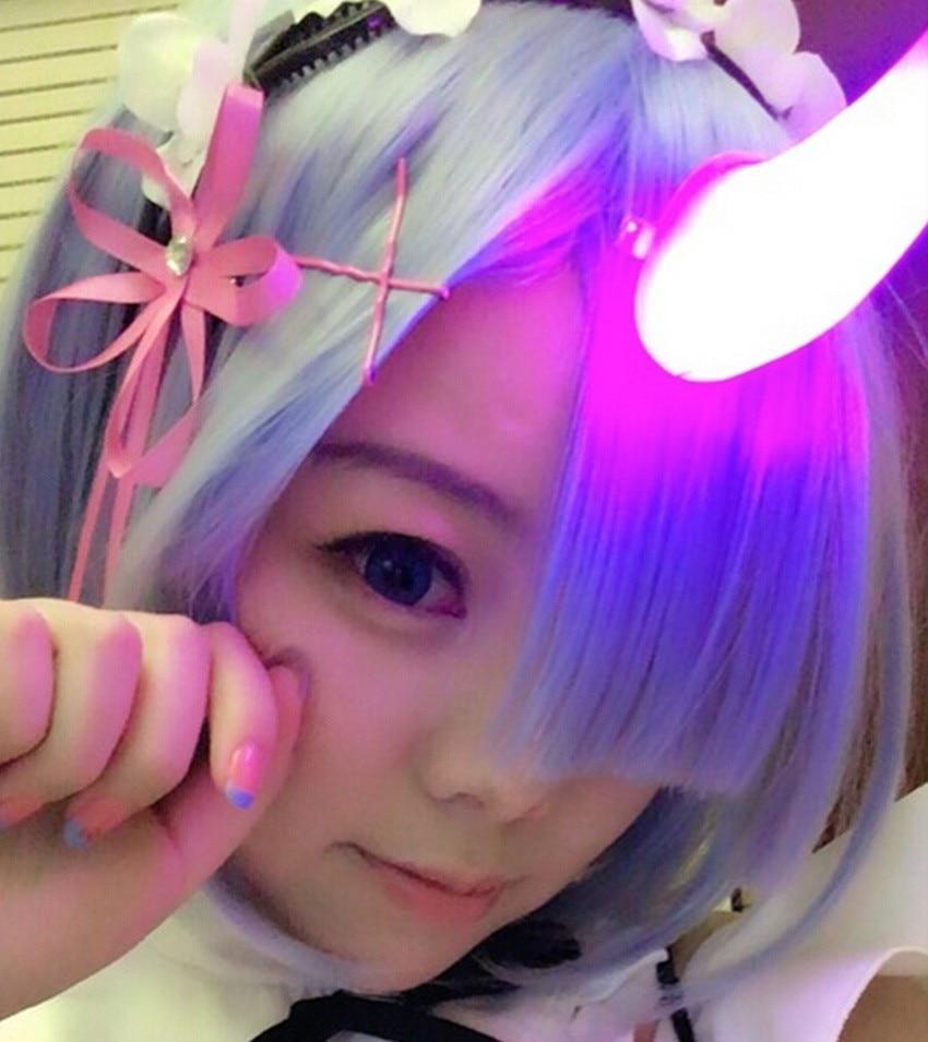 Anime Re: Zero kara Hajimeru Isekai Seikatsu Ram Rem Cosplay Helovinas Propas Velnio ragai