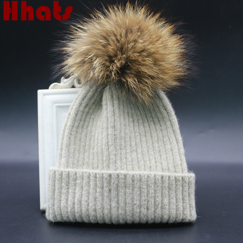 Which in shower real raccoon fur pompom children warm wool winter beanie hat kids boy girl knit fur cap with pom pom ball top the new children s cubs hat qiu dong with cartoon animals knitting wool cap and pile