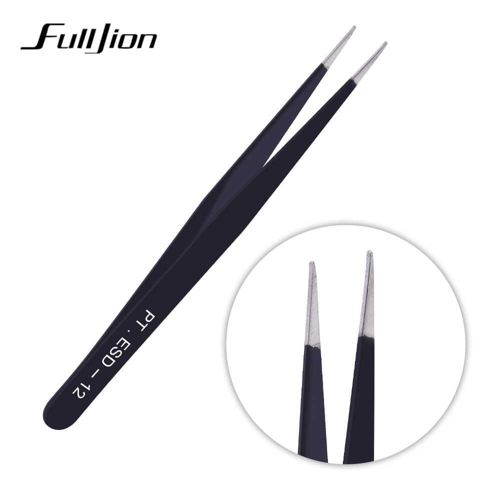Fulljion 2 Pcs Anti-Static Stainless Steel Melengkung Lurus Bulu Mata Tip Pinset Alis Pinset Bulu Mata Ekstensi Kuku Seni Alat
