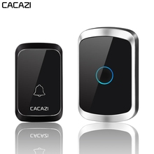 CACAZI Wireless Door Bell Waterproof Battery 1 2 Transmitter 1 2 3 Receiver US EU UK AU Plug Home Bell Wireless Ring Bell Chime недорого