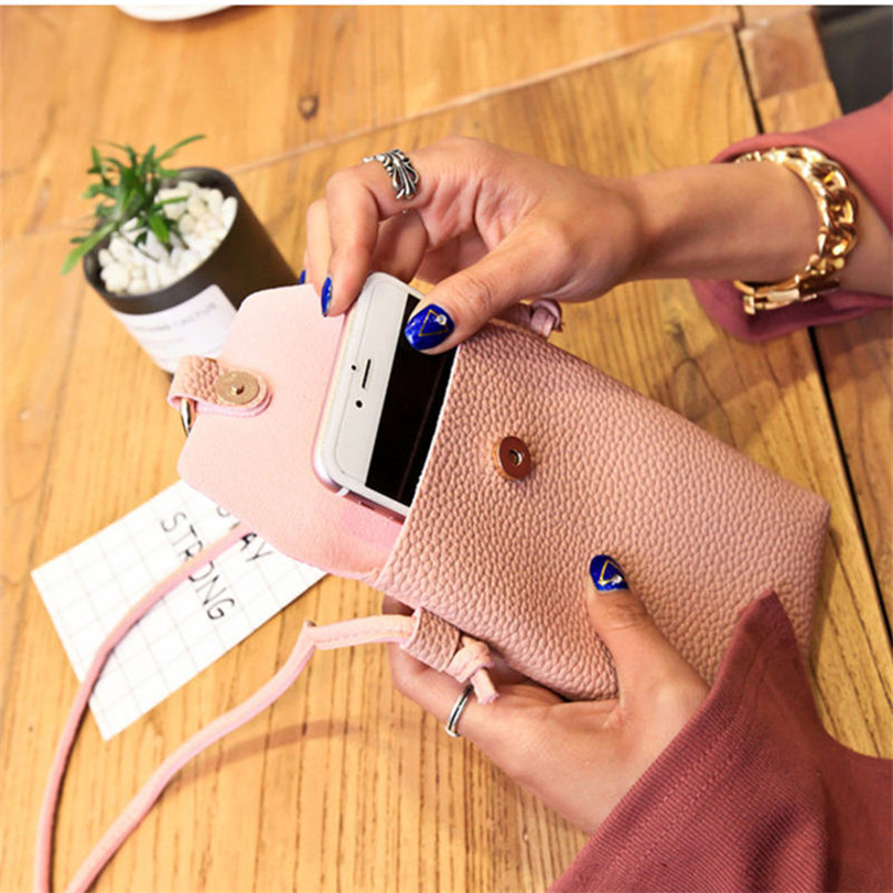 Fashion PU woman Leather Cell Phone Bag Wallet luxury Purse Neck Strap Shoulder bag Simple portable Casual Lovely Bags