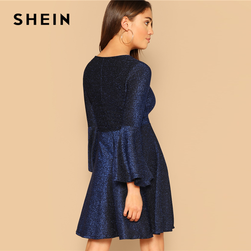 a3805db2 SHEIN Navy Elegant Trumpet Sleeve Fit and Flare Glitter Party Dress Women  2019 Spring Plain Highstreet Solid Short Dresses-in Dresses from Women's  Clothing ...