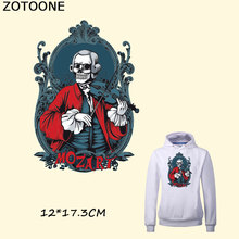 ZOTOONE Pretty Skull Music MOZART Patches Fashion Clothes Decoration Patch A-level Washable Stickers Heat Transfer DIY Accessory