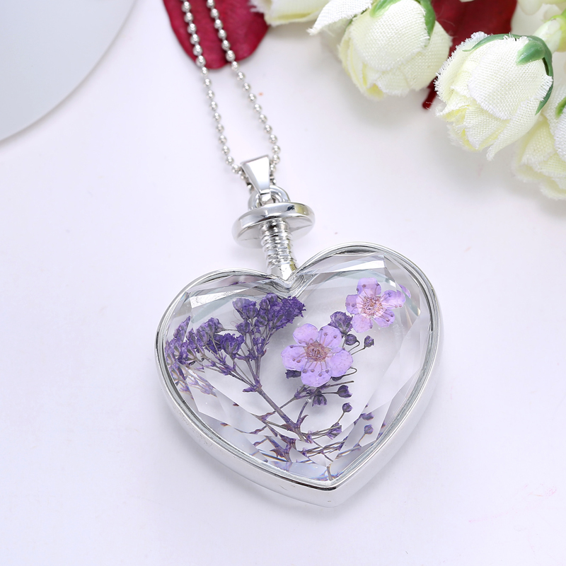 Silver Nature Purple Dried Flower Glass Locket Heart Pendant Necklace Long Chain