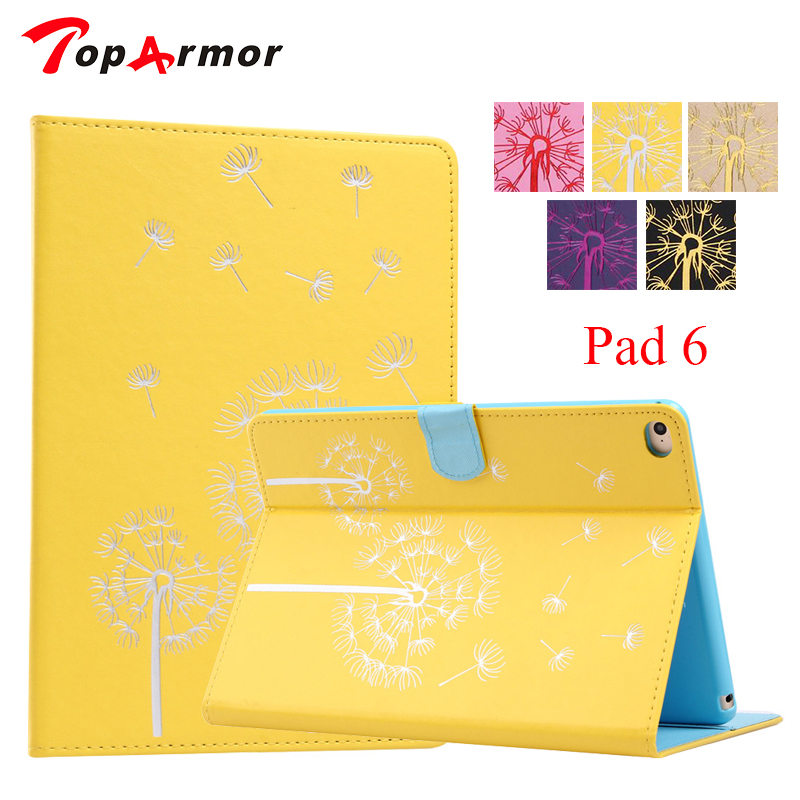все цены на TopArmor Brand Fashion Pu Leather Cute Cover Case For Apple iPad air 2 Magnetic Cases for ipad 6 iPad6 Dandelion Pattern онлайн