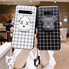 3D classic line square violent bear case for Samsung Galaxy S10 S10E S9 S8 S6 S7 edge plus S4 S5 silicone white back black cover стоимость