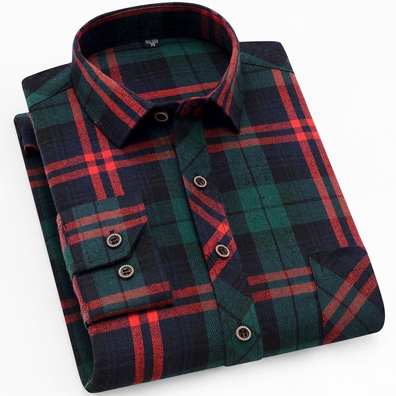 QISHA New Plaid Men's Shirt Soft Brushed Fabric Male Social Shirt Casual Business Fit Slim Comfortable Brand Flannel Check Shirt
