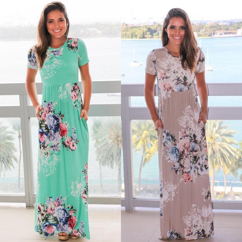Summer 2018 Women Boho Maxi Dress O-Neck High Waist Vintage Long Dress Elegant Plus Size Women Clothes Fashion Dresses Vestidos
