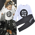 2016 Fall Kids Set Baby Boy White BORN TO BE WILD T-shirt Letters+Black Pants Kids Two Piece Leisure Set Childrens Clothes Boy