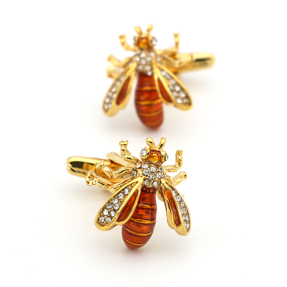 IGame Wasp Cufflinks Golden Color Novelty Bee Design Cute Crystal Insect Series Quality Brass Material Free Shipping