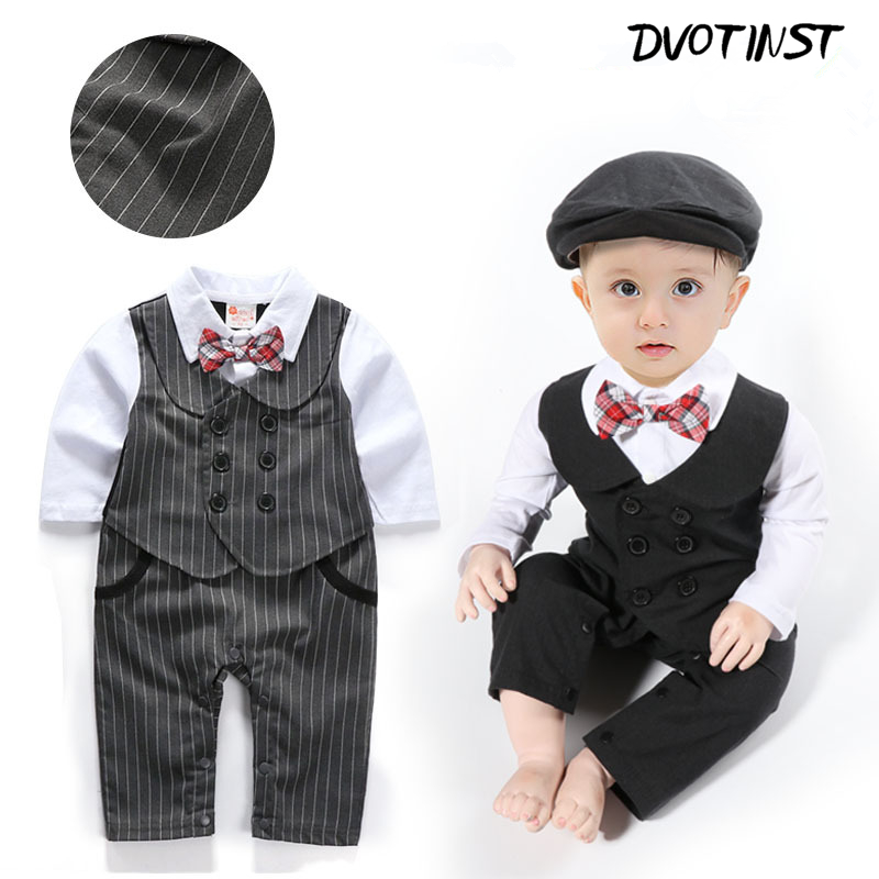 Baby Boys Full Sleeves Gentleman Bow Tie Rompers+Hat Set Outfit Event Infantil Wedding Jumpsuit Party Birthday Clothing Costume surplice neckline self tie cami jumpsuit