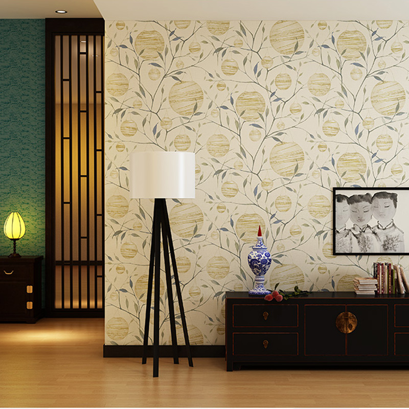 Q QIHANG Modern Chinese Style Printed Non-woven Bedroom Study Living room TV Setting Background Wallpaper 0.53m*10m=5.3m2