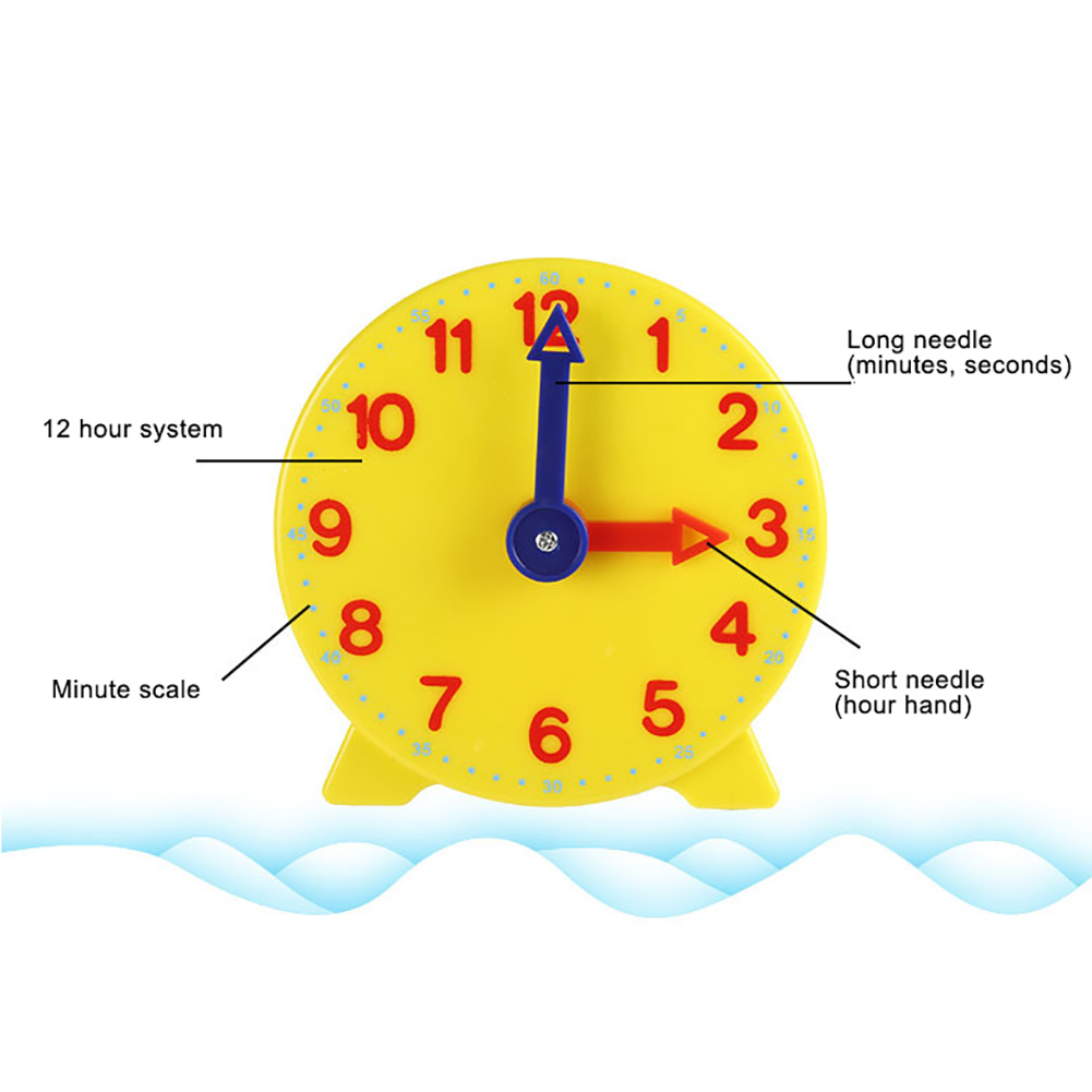 10cm Two Pointer Clock Model Kid Child Toy Early Learning Resources Time Montessori Math Toys Teacher Gear Clock Baby Gift